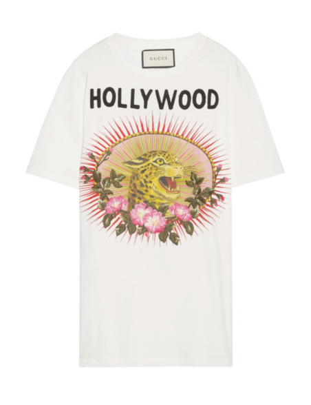 GUCCI Appliquéd printed cotton-jersey T-shirt